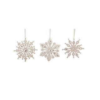 "Link to Club Pack of 12 Glittering Silver Finish Gem Snowflake Ornaments 7"" Similar Items in Christmas Decorations"