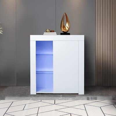 AOOLIVE Kitchen Sideboard Cupboard White High Gloss - N/A