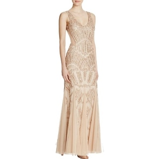 Adrianna Papell Womens Formal Dress Embellished Open Back