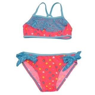 Real Love Girls Blue Laser-Cut Trim Star Print 2 Pc Bikini Swimsuit