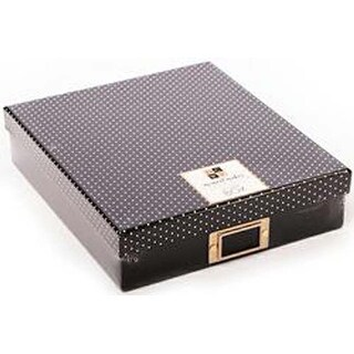 Black W/White Dots Lid & Gold Bookplate -Moment Maker Planner System Storage Box