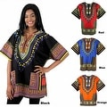 Unisex Ethnic Print Womens Plus Size Summer Casual Loose Short Sleeve Blouse Kaftan Tops T-shirt - Thumbnail 1