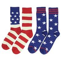 American Flag USA Americana Mid-Calf 2 Pair Crew Socks