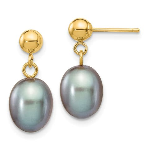 14K Yellow Gold 7-8mm Grey Freshwater Cultured Pearl Dangle Earrings by Versil