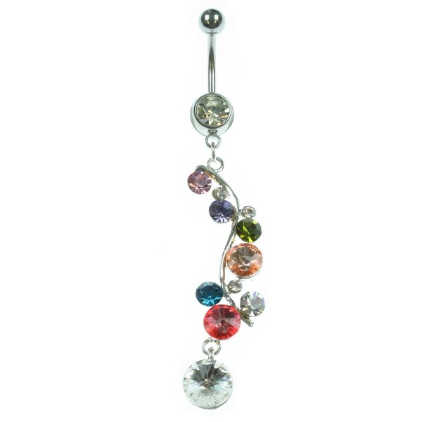 14g 7/16's Navel with Gem Drops Dangle Charm