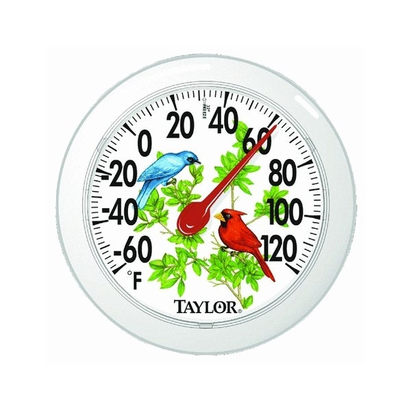 """Taylor 5632 Cardinal Bunting Dial Outdoor Wall Thermometer 6"""", Clear"""