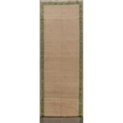 """Vegetable Dye Bordered Kashmar Persian Wool Runner Rug Hand-knotted - 4'11"""" x 22'0"""""""