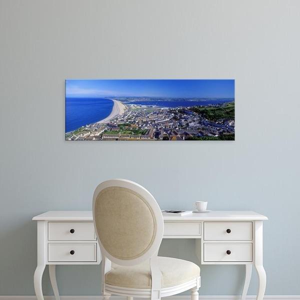 Easy Art Prints Panoramic Image 'Chesil Beach, Portland, Isle of Portland, Dorset, England' Canvas Art