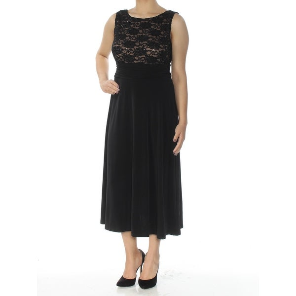 CONNECTED Womens Black Lace Sleeveless Scoop Neck Tea-Length A-Line Evening Dress Size: 6