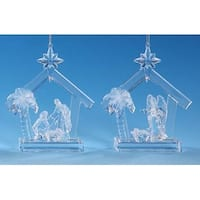 Club Pack of 12 Icy Crystal Religious Christmas Nativity Stable Ornaments 5""