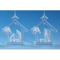 "Club Pack of 12 Icy Crystal Religious Christmas Nativity Stable Ornaments 5"" - CLEAR"