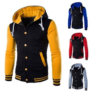 Men's Autumn Sports Casual Classic Striped Hooded Baseball Jacket Coat Outwear