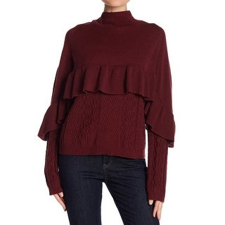 Project Nadaam Cordovan Red Women Small S Mock Neck Ruffled Sweater
