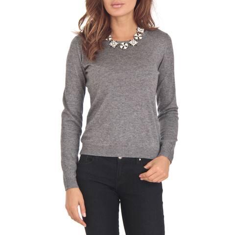 Cashmere Blend Grey Crewneck Sweater