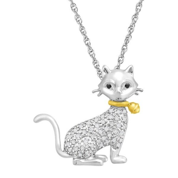 1/8 ct White & Black Diamond Cat Pendant in Sterling Silver & 14K Gold
