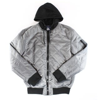 American Rag CIE NEW Gray Black Mens Size Large L Hooded Puffer Jacket