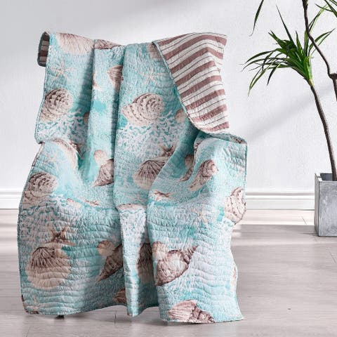 Barefoot Bungalow Ocean Turquoise Coastal Quilted Throw
