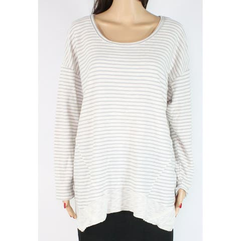 Style & Co. Women's Knit Top Beige Size 1X Plus Stripe Scoop Neck