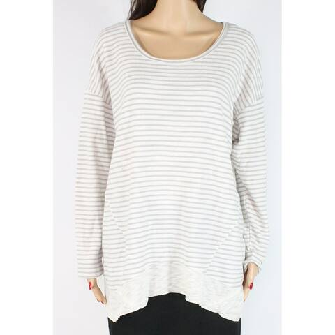 Style & Co. Women's Top Gray Plus Textured Striped