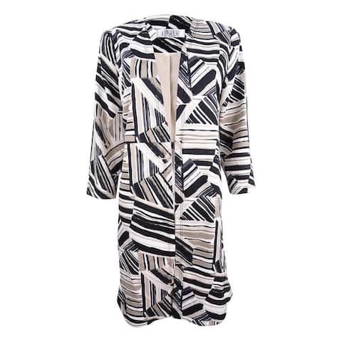 Kasper Women's Plus Size Abstract-Print Ottoman Jacket - Clay Multi