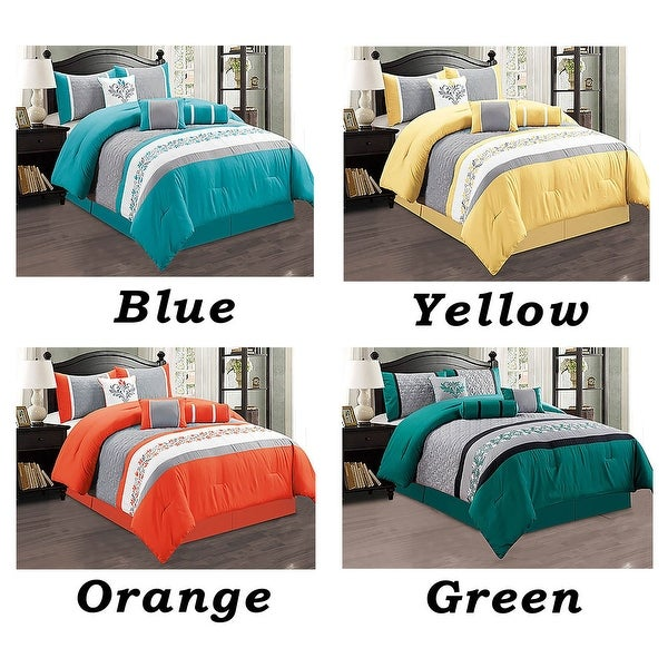 Shop 7 Pc Comforter Set Cal King Size Floral Modern Style With Bed