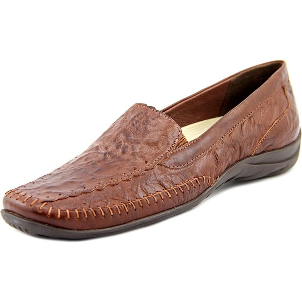 Elites by Walking Cradles Tippy Women Square Toe Leather Brown Loafer
