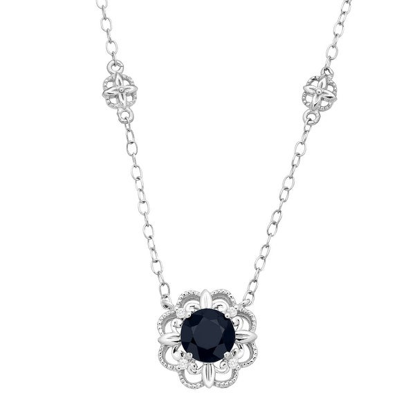 1 ct Natural Kanchanaburi Sapphire Necklace with Diamonds in 10K White Gold - Blue