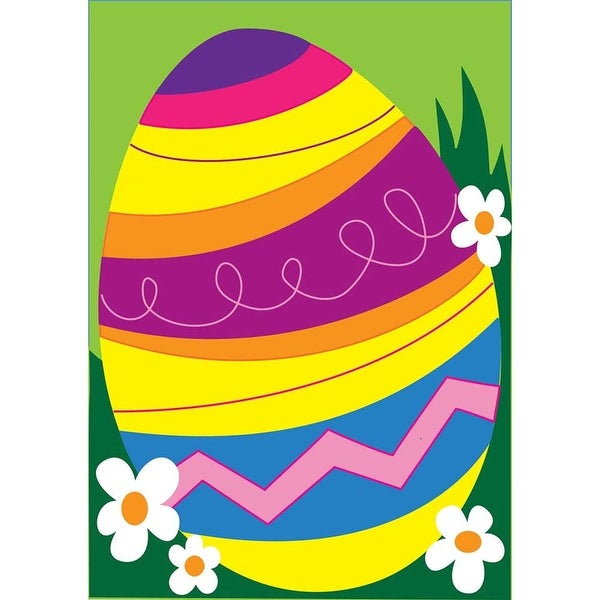 """Colorful Striped Easter Egg Garden Flag 13"""" x 18"""" - N/A"""