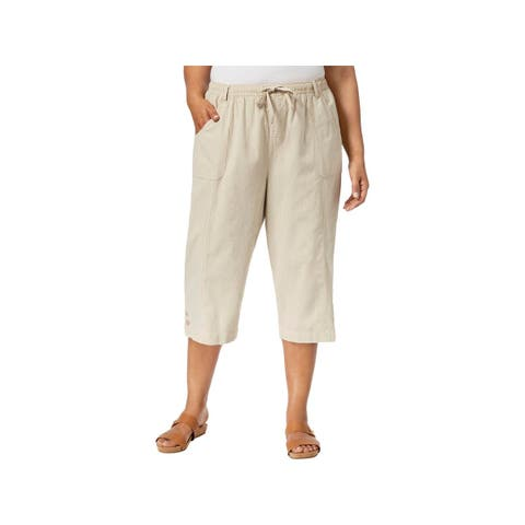 eb418f39b2a Karen Scott Womens Plus Capri Pants Front Pockets High Rise