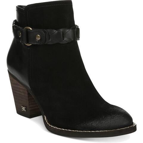 Sam Edelman Womens Minetta Ankle Boots Suede Block Heel
