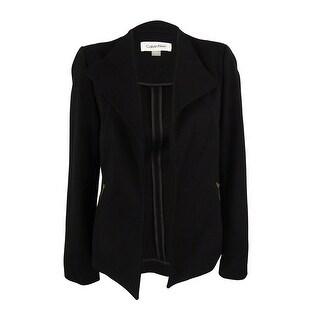 Calvin Klein Women's Long Sleeve Open Front Jacket - Black - 8P