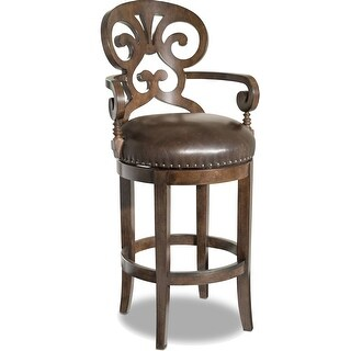 """Hooker Furniture 300-20016  21-1/4"""" Wide Wood Framed Leather Full Back Bar Stool from the Jameson Collection - Leesburg Mahogany"""