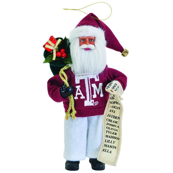 "9"" NCAA Texas A&M Aggies Santa Claus with Good List Christmas Ornament - RED"