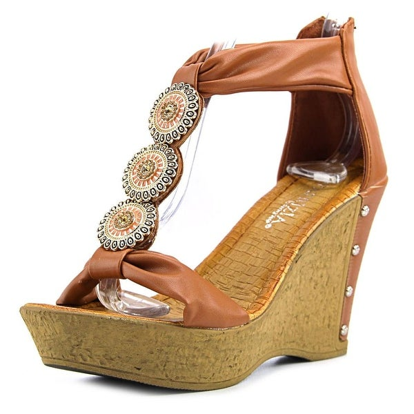 Patrizia By Spring Step Pegaxandra Women Open Toe Synthetic Tan Wedge Sandal