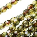Czech Fire Polished Glass Beads 4mm Round Lumi Coated - Green (50) - Thumbnail 0