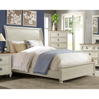 Link to Martin Svensson Home Pine Creek Solid Wood Sleigh Bed, Antique White Similar Items in Bedroom Furniture