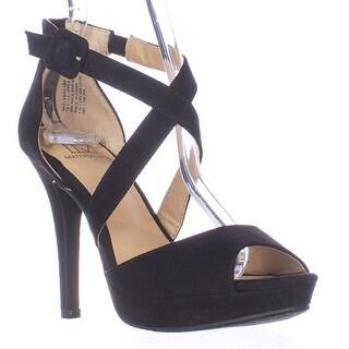 MG35 Helenah Cross Strap Peep Toe Platform Heels - Black