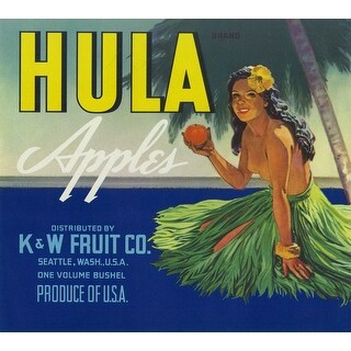 Hawaii Hula Girl Apple - Vintage Label (Playing Card Deck - 52 Card Poker Size with Jokers)