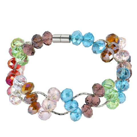 Handmade Unique Sparkling and Colorful Crystal Beads Magnetic Clasp Bracelet (Thailand)