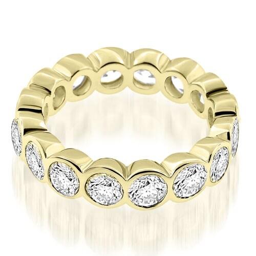 3.20 cttw. 14K Yellow Gold Stylish Bezel Set Round Cut Diamond Eternity Ring