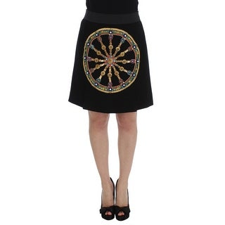 Dolce & Gabbana Dolce & Gabbana Black Wool Carretto Crystal A-Line Skirt - it46-xl