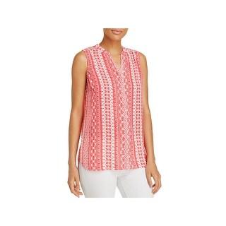 Foxcroft Womens Tunic Top Printed Sleeveless