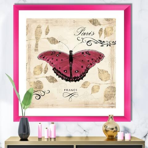 Designart 'Red Farmhouse Butterfly' Farmhouse Premium Framed Art Print