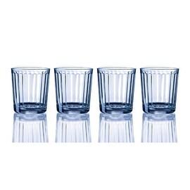 Palais Glassware Colonne Collection; High Quality Column Clear Glass Beverage Set (Set of 4 - 13 Oz DOF Glasses, Blue)