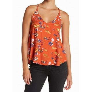 Elodie Orange Womens Size Small S V-Neck Floral-Print Cami Top