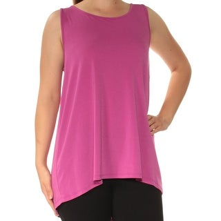 Womens Purple Sleeveless Boat Neck Casual Top Size M
