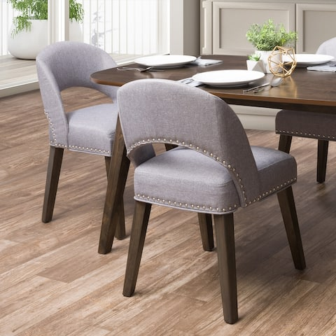 CorLiving Tiffany Upholstered Dining Chair with Wood Legs, Set of 2