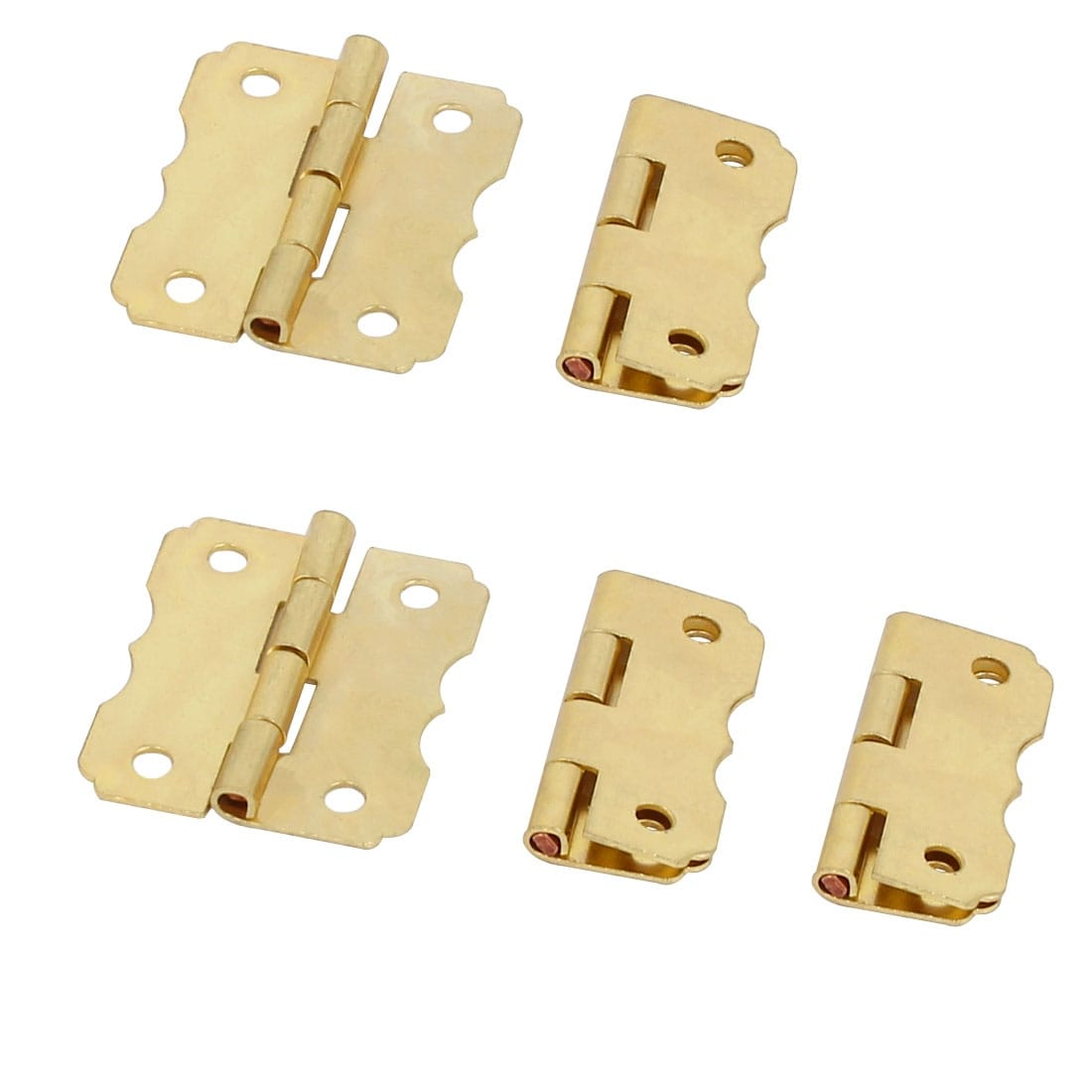 Cosmetic Box Wooden Case Metal Butt Hinges Gold Tone 30mm Length 5pcs