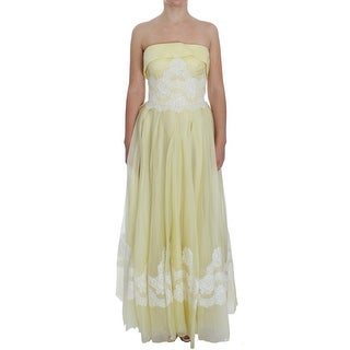 Dolce & Gabbana Yellow White Lace Silk Maxi Gown Dress - it40-s