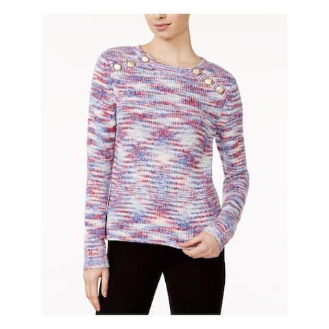 KENSIE Womens Blue Long Sleeve Jewel Neck Sweater Size S